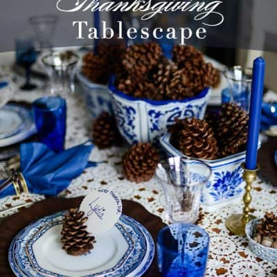 A Blue & White Fall Tablescape