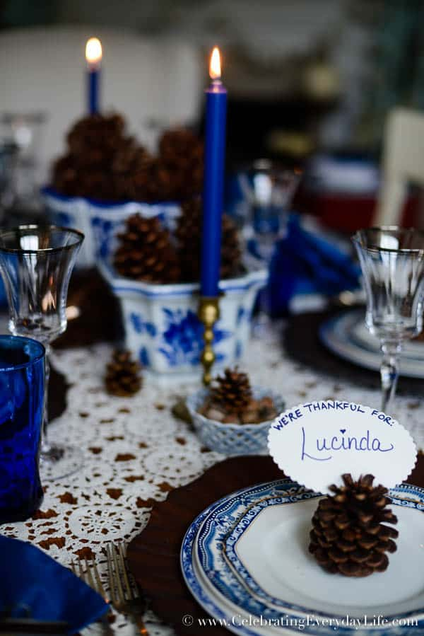 Blue White Tablescape, Blue & White Thanksgiving Tablescape, Pinecone tablescape, Blue & White Autumn Tablescape, Thanksgiving table ideas, Hanukkah Tablescape ideas, Celebrating Everyday Life with Jennifer Carroll