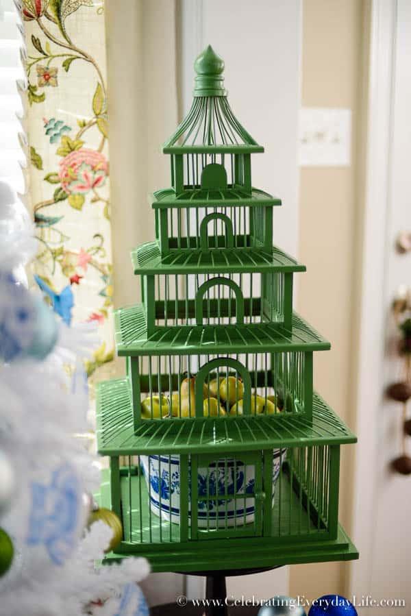 Pagoda birdcage, Blue & White Christmas Tree, Flocked White Christmas Tree, DIY Christmas Ornaments, Walmart Christmas Tree, Blue & White Christmas Decorations, Celebrating Everyday Life with Jennifer Carroll