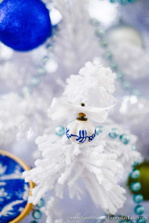 blue & white porcelain drawer pull ornament, Blue & White Christmas Tree, Flocked White Christmas Tree, DIY Christmas Ornaments, Walmart Christmas Tree, Blue & White Christmas Decorations, Celebrating Everyday Life with Jennifer Carroll