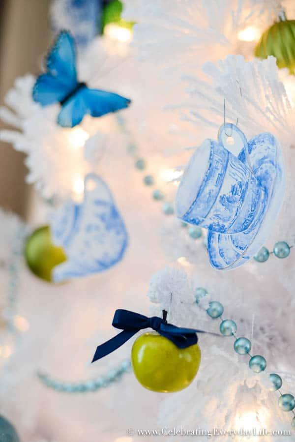 blue & white china pattern ornament, blue & white china ornament, blue & white christmas, Blue & White Christmas Tree, Flocked White Christmas Tree, DIY Christmas Ornaments, Walmart Christmas Tree, Blue & White Christmas Decorations, Celebrating Everyday Life with Jennifer Carroll