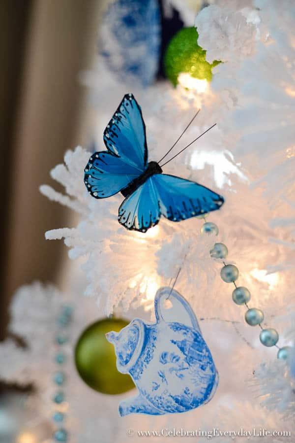 Blue & White Christmas Tree, Flocked White Christmas Tree, DIY Christmas Ornaments, Walmart Christmas Tree, Blue & White Christmas Decorations, Celebrating Everyday Life with Jennifer Carroll