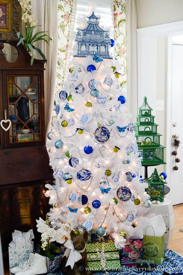 Blue U0026 White Christmas Tree   Celebrating Everyday Life With Jennifer  Carroll