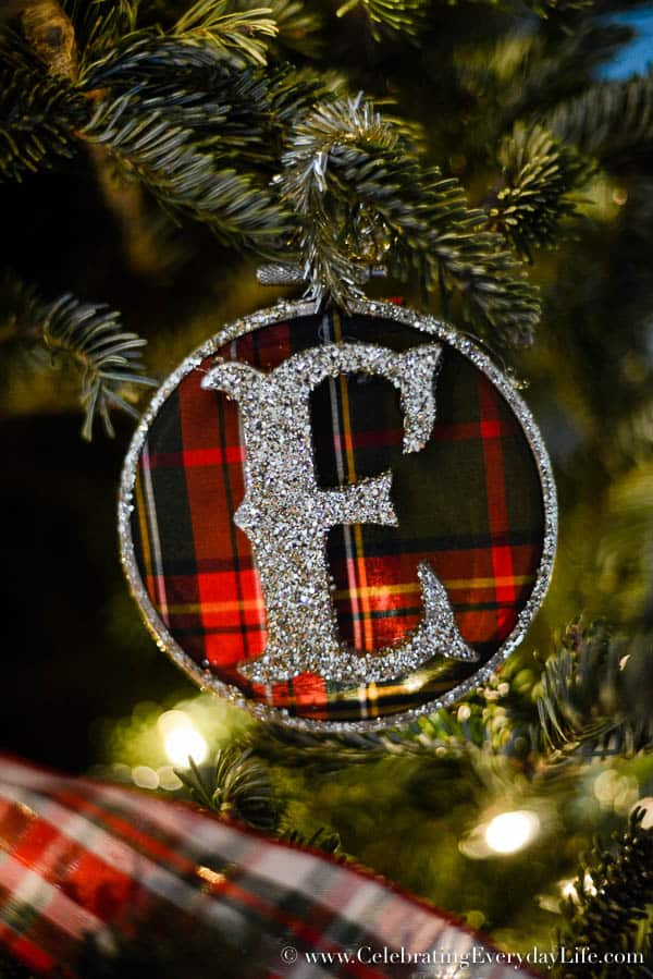 Plaid Monogram Ornament, Plaid Christmas Ornament, Christmas Ornament DIY, Make your own Christmas ornament, Hunt Country Christmas, Ralph Lauren Style Christmas Ornament, Celebrating Everyday Life with Jennifer Carroll