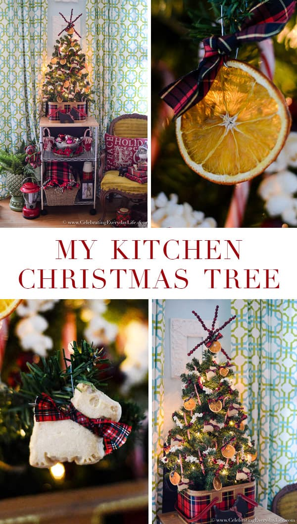 My Kitchen Christmas Tree, Natural Christmas ornaments, homemade christmas ornaments, dried orange ornaments, popcorn garland, cranberry garland, homemade cranberry garland, celebrating everyday life with jennifer carroll, plaid christmas tree, plaid christmas, shortbread cookie ornaments, scottie dog ornaments, scottie dog christmas decor