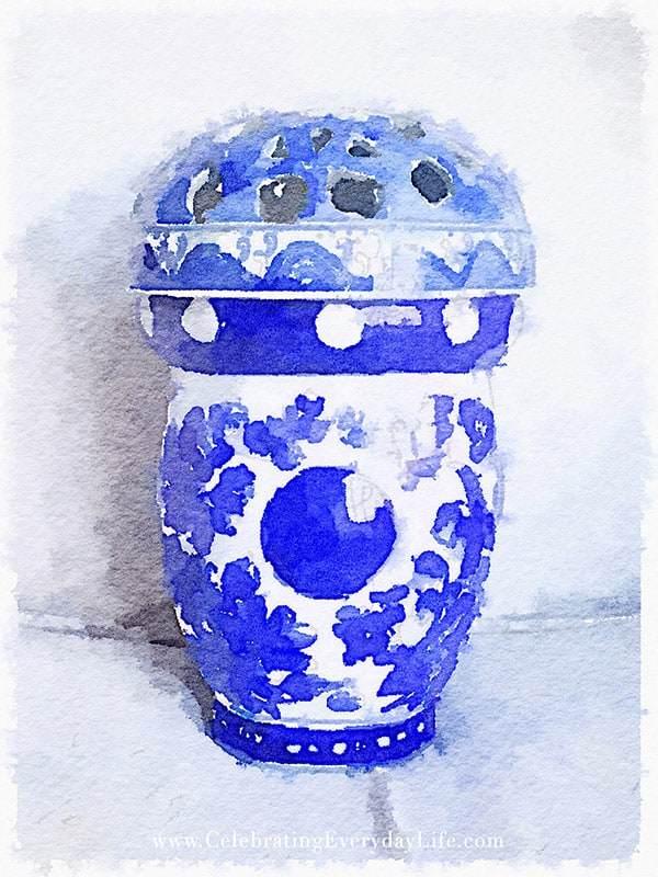 Blue & White Watercolor Printable, Painted in Waterlogue, Celebrating Everyday Life with Jennifer Carroll