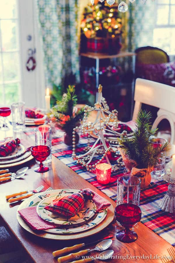 Highland Holiday Tablescape, Plaid Tablescape, Plaid Christmas Table, Plaid Entertaining, Celebrating Everyday Life with Jennifer Carroll