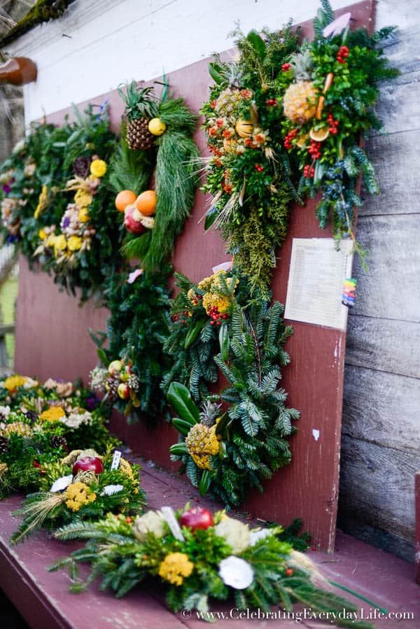 Natural dried flower wreath, Christmas In Williamsburg, Williamsburg Christmas Ideas, Williamsburg Christmas decor, Natural Christmas decor ideas, Celebrating Everyday Life with Jennifer Carroll