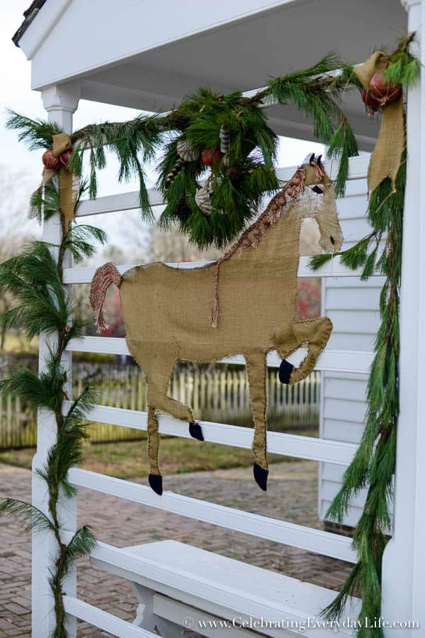 Burlap horse Williamsburg decoration, Natural dried flower wreath, Christmas In Williamsburg, Williamsburg Christmas Ideas, Williamsburg Christmas decor, Natural Christmas decor ideas, Celebrating Everyday Life with Jennifer Carroll