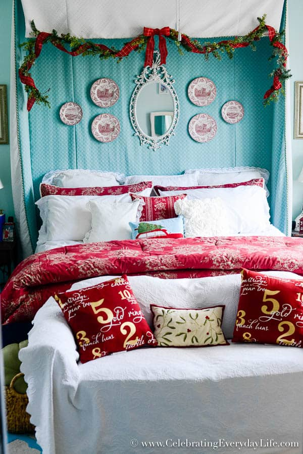 My Christmas bedroom decor, Red & white Christmas Decor, Turquoise red and white Christmas bedroom, Christmas bedroom decorating ideas, Ralph Lauren Chaps Telluride bedding, Celebrating Everyday Life with Jennifer Carroll