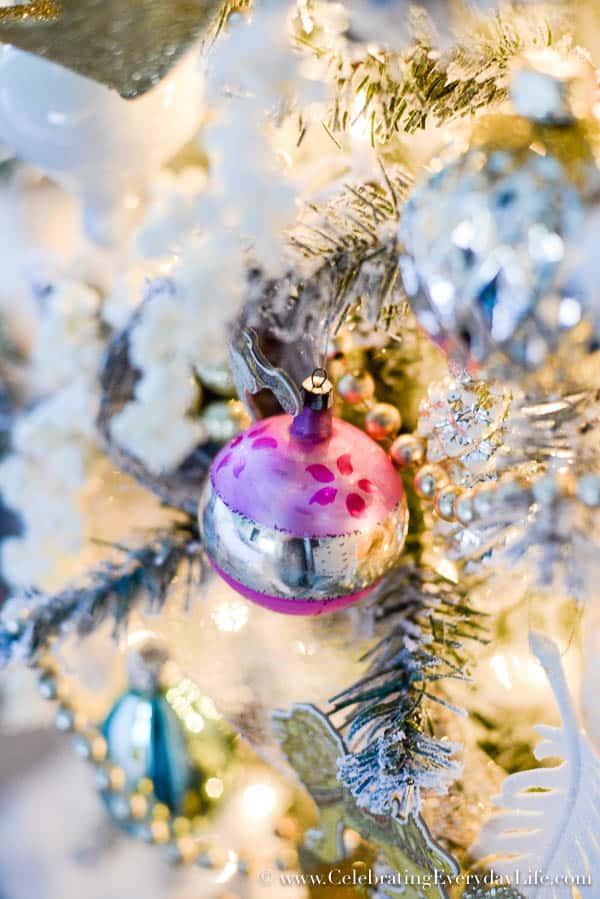 Santa Christmas Ornament, soft & romantic christmas tree, Bedroom Christmas tree, Shabby chic Christmas tree, angel tree, Celebrating Everyday Life with Jennifer Carroll