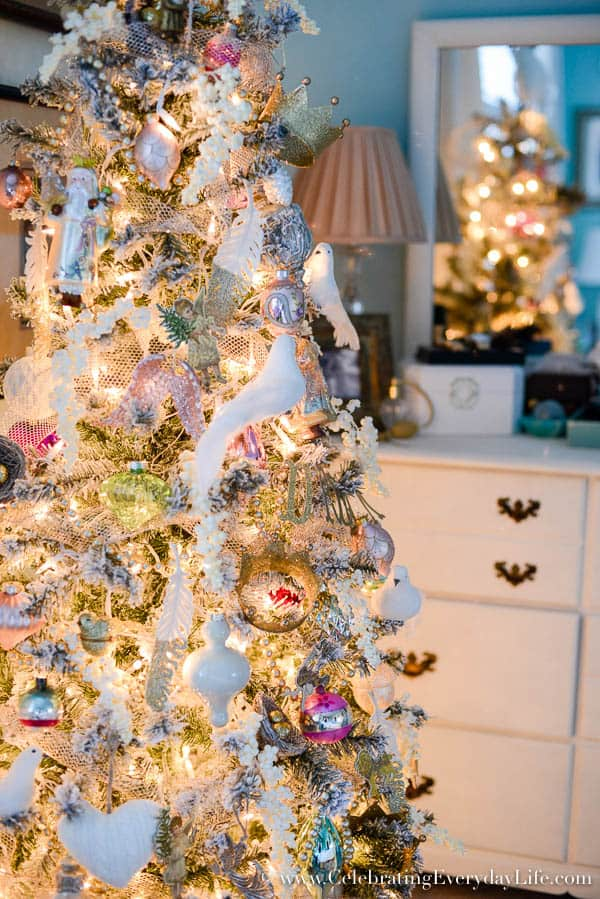 soft & romantic christmas tree, Bedroom Christmas tree, Shabby chic Christmas tree, angel tree, Celebrating Everyday Life with Jennifer Carroll