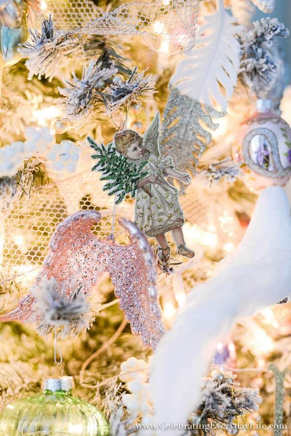soft & romantic christmas tree, Bedroom Christmas tree, Shabby chic Christmas tree, angel tree, Celebrating Everyday Life with Jennifer Carroll