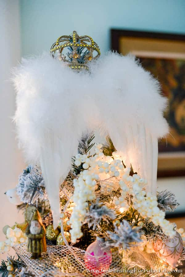Angel wing tree topper, soft & romantic christmas tree, Bedroom Christmas tree, Shabby chic Christmas tree, angel tree, Celebrating Everyday Life with Jennifer Carroll