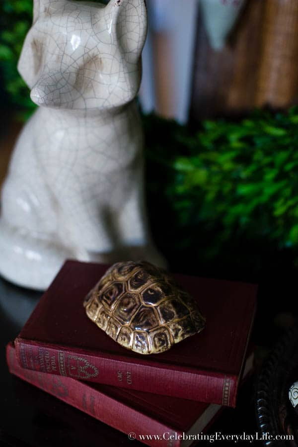 Porcelain turtle, Boxwood Table Styling, Inspiration for styling a vignette, Tips for decorating a table, blue & white decor inspiration, boxwood decor inspiration, Celebrating Everyday Life with Jennifer Carroll