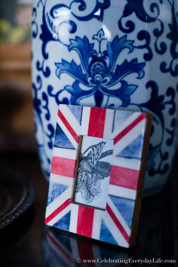 Union Jack picture frame, Boxwood Table Styling, Inspiration for styling a vignette, Tips for decorating a table, blue & white decor inspiration, boxwood decor inspiration, Celebrating Everyday Life with Jennifer Carroll