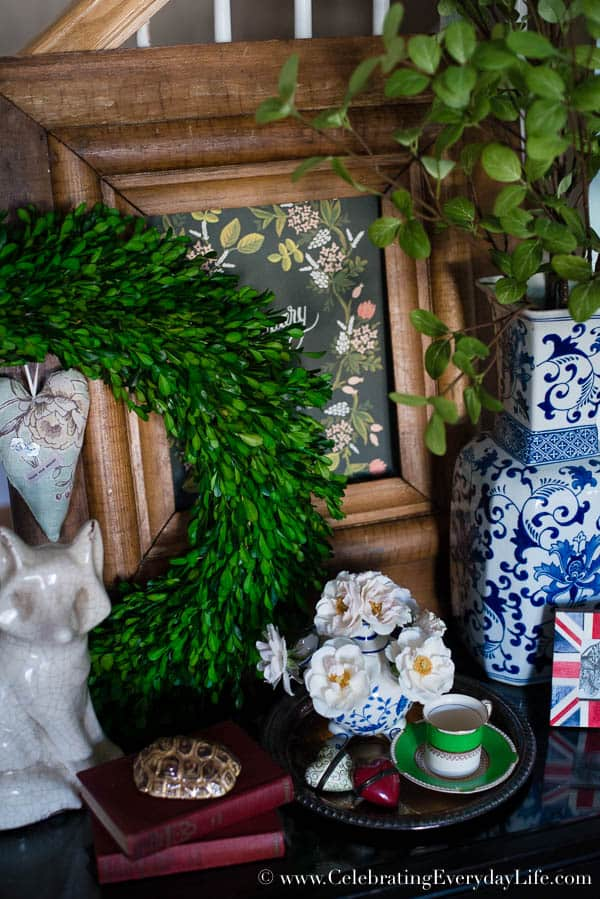 Boxwood Table Styling, Inspiration for styling a vignette, Tips for decorating a table, blue & white decor inspiration, boxwood decor inspiration, Celebrating Everyday Life with Jennifer Carroll