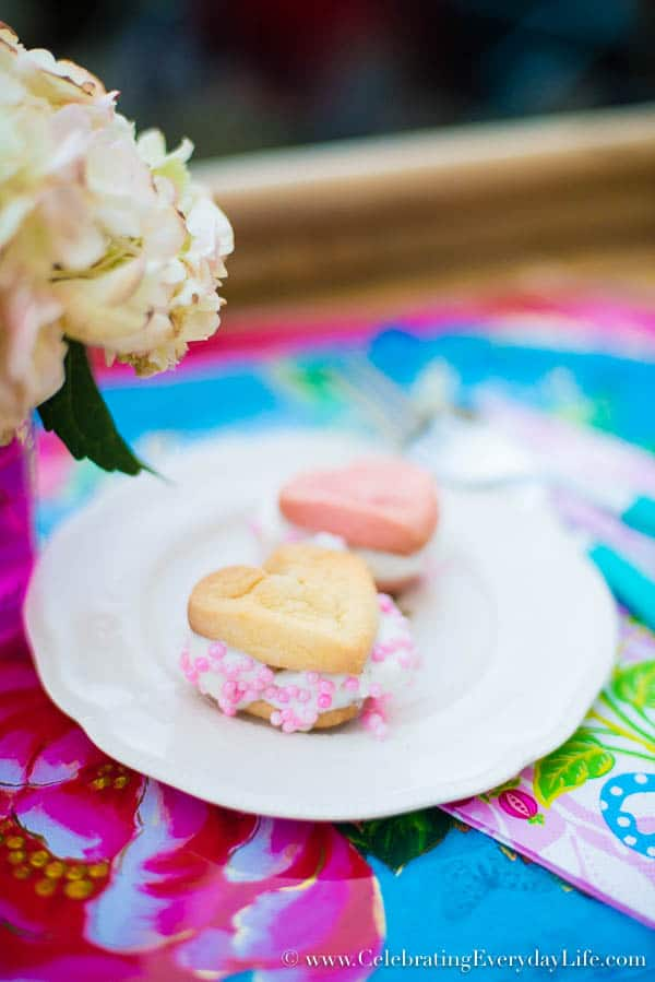 Heart Ice Cream Sandwiches, Easy Valentine Dessert, Cookie Dessert Ideas, Ice Cream Dessert Ideas, Celebrating Everyday Life with Jennifer Carroll