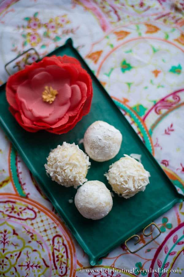 Elderflower White Chocolate Truffles recipe, White chocolate truffle recipe, Gifts from the kitchen recipe, Food gift ideas, food gift recipes, chocolate lovers recipe, Celebrating Everyday Life with Jennifer Carroll