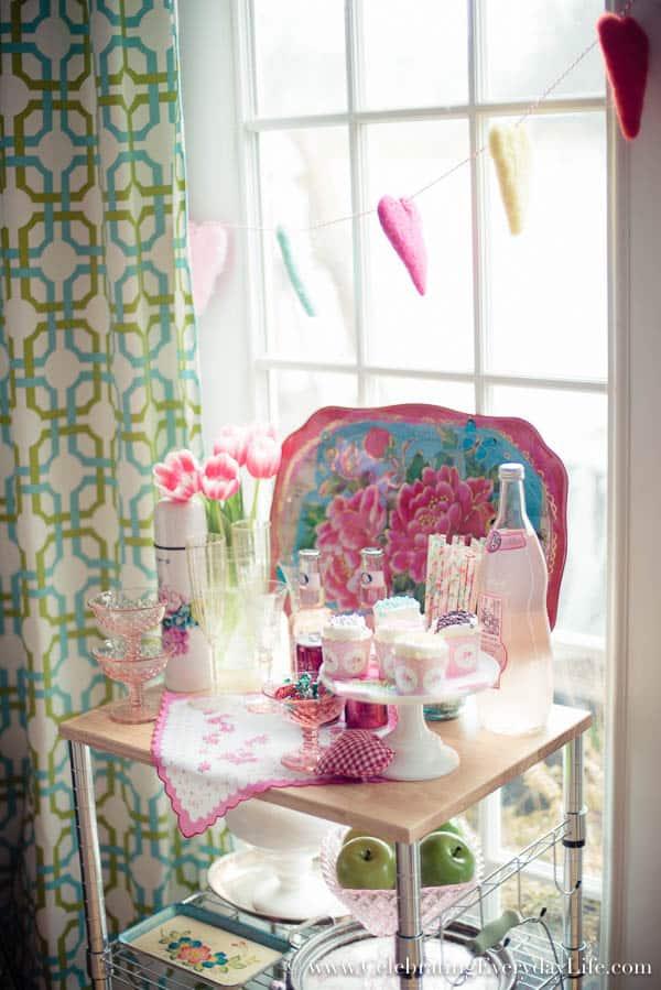 Felt heart banner, A Valentine Bar Cart, Valentine Decor Ideas, Valentine Entertaining Ideas, Pink Bar Cart, Pink Entertaining Ideas, Bridal Shower Decor Ideas, Celebrating Everyday Life with Jennifer Carroll