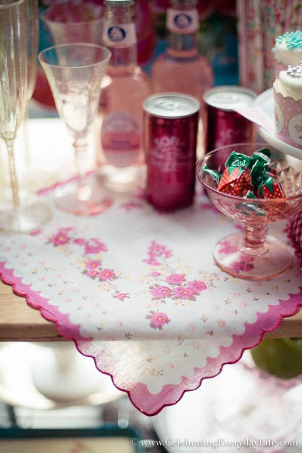 A Valentine Bar Cart, Valentine Decor Ideas, Valentine Entertaining Ideas, Pink Bar Cart, Pink Entertaining Ideas, Bridal Shower Decor Ideas, Celebrating Everyday Life with Jennifer Carroll