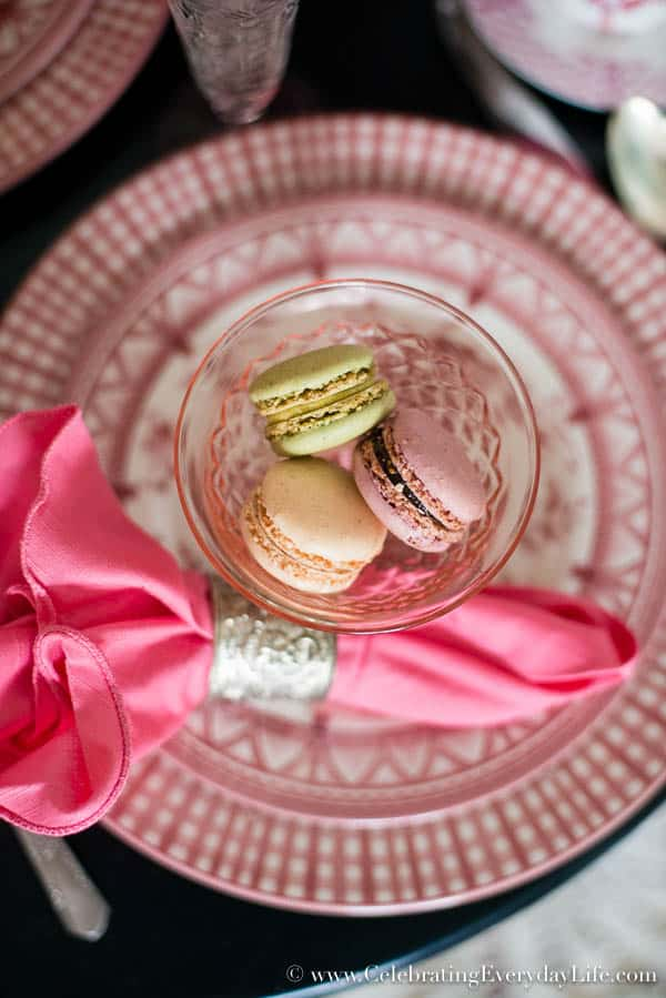Trader Joe Macarons, French Macarons, A Parisian Valentine Tablescape, French Valentine tablescape, Paris cafe tablescape, romantic Valentine table, Pink and Black tablescape, Celebrating Everyday Life with Jennifer Carroll