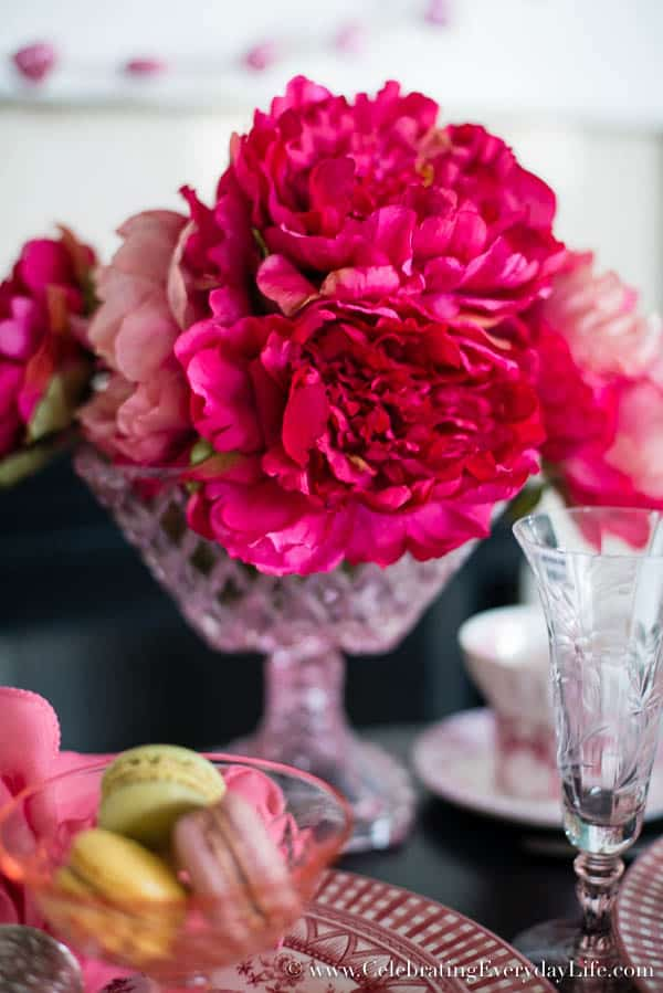 Hot Pink Peony, A Parisian Valentine Tablescape, French Valentine tablescape, Paris cafe tablescape, romantic Valentine table, Pink and Black tablescape, Celebrating Everyday Life with Jennifer Carroll