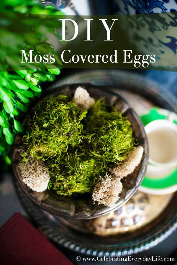 DIY Moss Covered Eggs, How to Make Moss Covered Eggs, Moss Decorations, Easter Crafts, Easter Moss Crafts, Moss Decor, Easter Decor, Celebrating Everyday Life with Jennifer Carroll