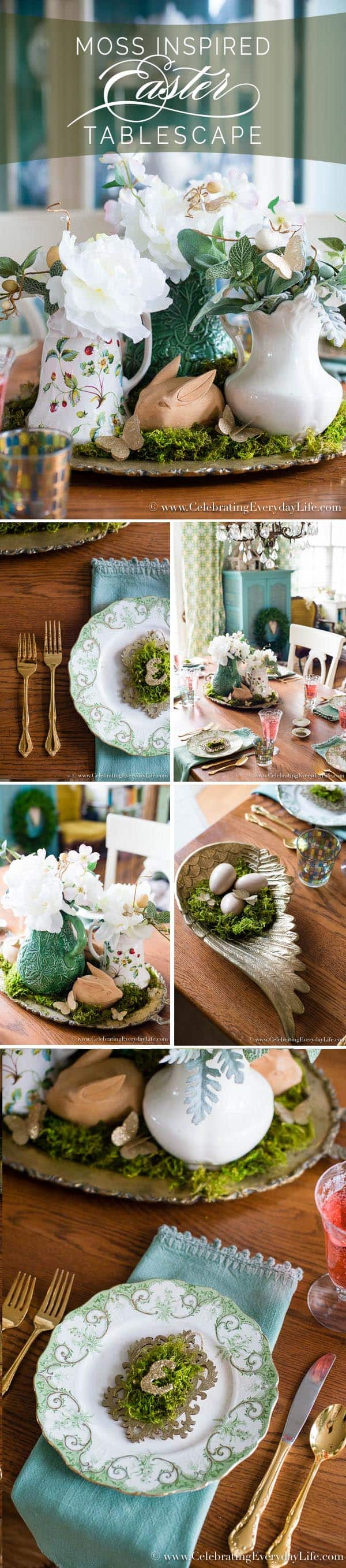 Moss Inspired Easter Tablescape, Elegant green tablescape, Elegant green Easter table, Easter table ideas, Easter decor ideas, green and gold table decor, Celebrating Everyday Life with Jennifer Carroll