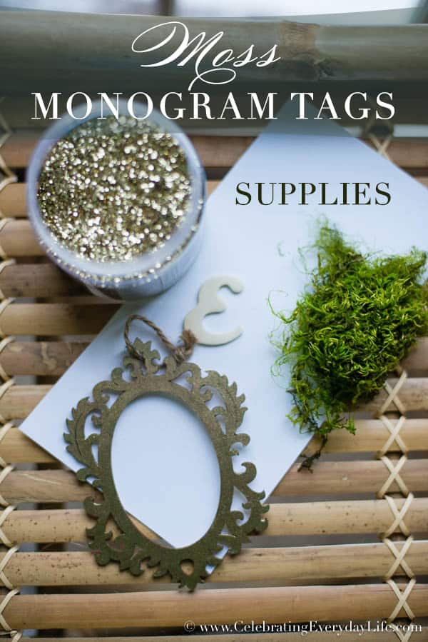 Supplies for Moss Monogram Tag Tutorial, Moss Monogram Placecard DIY, Moss Tag DIY, Moss Craft, Easter Entertaining, Easter Craft, Easter Tablescape, Rustic Chic Tablescape, Elegant Easter Tablescape, Celebrating Everyday Life with Jennifer Carroll