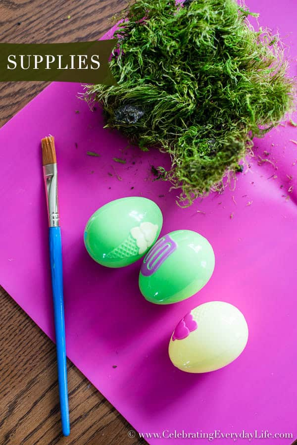 Supplies to make moss covered eggs, DIY Moss Covered Eggs, How to Make Moss Covered Eggs, Moss Decorations, Easter Crafts, Easter Moss Crafts, Moss Decor, Easter Decor, Celebrating Everyday Life with Jennifer Carroll