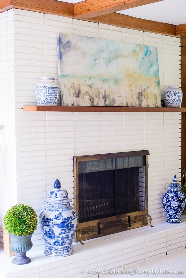 Painted white brick fireplace, Blue and White Living Room Decor, Living Room Makeover, Living Room Before & After, White Living Room Decor, Blue and White and Green Living Room, Cottage Living Room Decor, Shabby Chic Living Room, Equestrain Style Living Room, Celebrating Everyday Life with Jennifer Carroll