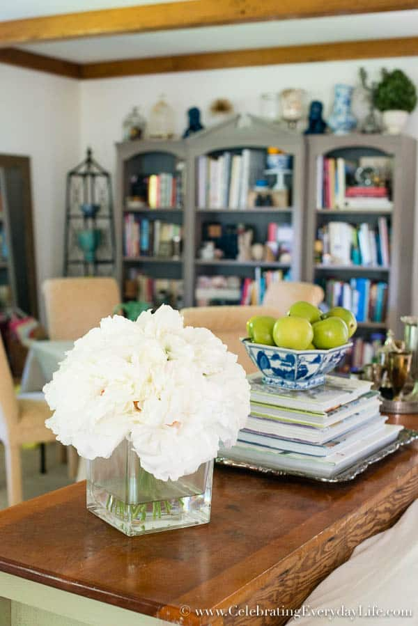 Decorating with Books, Blue and White Living Room Decor, Living Room Makeover, Living Room Before & After, White Living Room Decor, Blue and White and Green Living Room, Cottage Living Room Decor, Shabby Chic Living Room, Equestrain Style Living Room, Celebrating Everyday Life with Jennifer Carroll