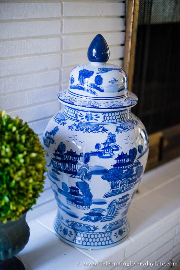 Blue & White ginger jar, Painted white brick fireplace, Blue and White Living Room Decor, Living Room Makeover, Living Room Before & After, White Living Room Decor, Blue and White and Green Living Room, Cottage Living Room Decor, Shabby Chic Living Room, Equestrain Style Living Room, Celebrating Everyday Life with Jennifer Carroll