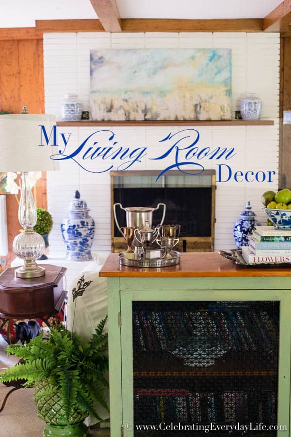 Blue and White Living Room Decor, Living Room Makeover, Living Room Before & After, White Living Room Decor, Blue and White and Green Living Room, Cottage Living Room Decor, Shabby Chic Living Room, Equestrain Style Living Room, Celebrating Everyday Life with Jennifer Carroll