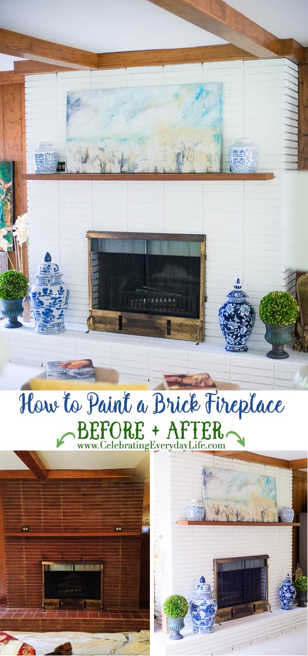 How to Paint a Fireplace Before and After, Blue and White Home Decor, White Painted Brick Fireplace, DIY Paint Brick Fireplace, Benjamin Moore Painted Fireplace, Chinoiserie Fireplace, Chinoiserie Living Room Decor, Blue and White Decorating, Celebrating Everyday Life with Jennifer Carroll