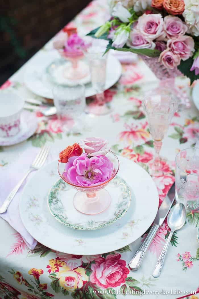 Dining On the Patio, David Austin Roses, April Cornell tablecloth, April Cornell Rosemary Tablecloth, pink and cream tablescape, stone patio table, Celebrating Everyday Life with Jennifer Carroll