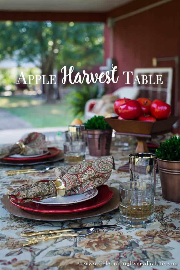 Apple Harvest Table, Fall Tablescape, Fall Table, September Entertaining Ideas, Fall Entertaining Ideas, Red Barn Table, Autumn Entertaining Ideas, Celebrating Everyday Life with Jennifer Carroll