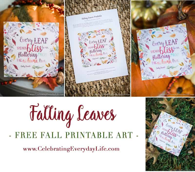 Free Falling leaves printable art, Emily Bronte Every Leaf quote, Fall quote printable, Free PDF printable, Fall art, Celebrating Everyday Life with Jennifer Carroll