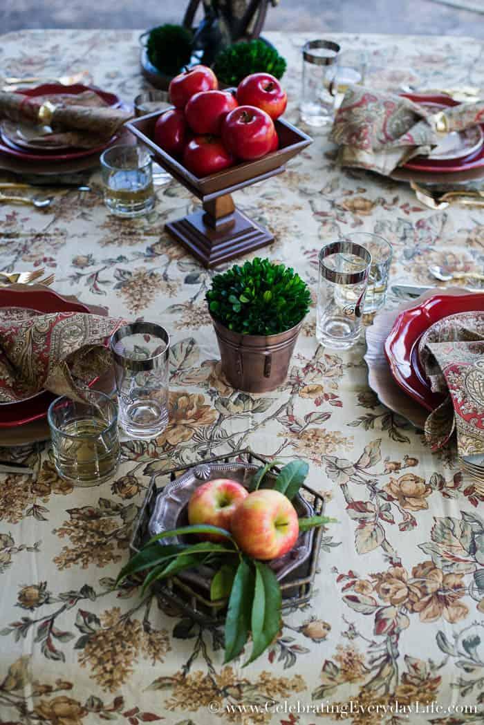 Apple Harvest Table, Fall Tablescape, Fall Table, September Entertaining Ideas, Fall Entertaining Ideas, Red Barn Table, Autumn Entertaining Ideas, Ralph Lauren Inspired Fall Table, Celebrating Everyday Life with Jennifer Carroll