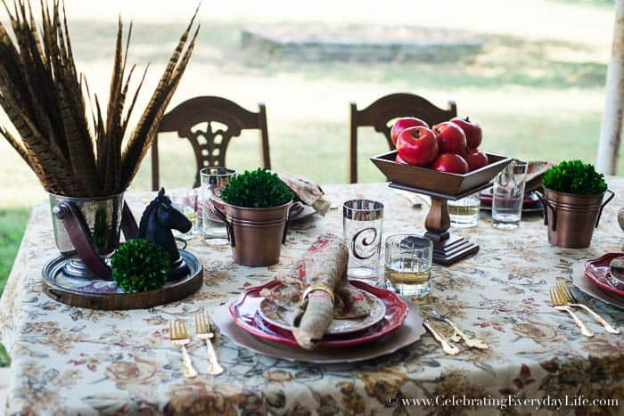 Apple Harvest Table, Fall Tablescape, Fall Table, September Entertaining Ideas, Fall Entertaining Ideas, Red Barn Table, Autumn Entertaining Ideas, Ralph Lauren Inspired Fall Table, Celebrating Everyday Life with Jennifer Carroll