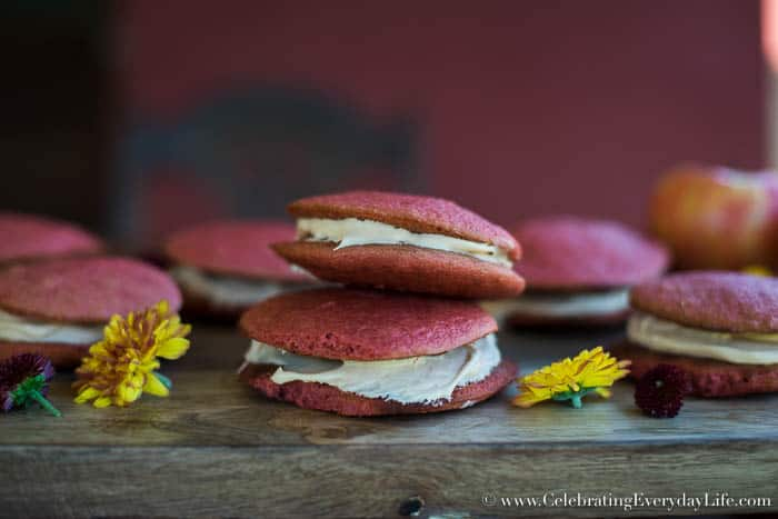 apple cider whoopie pies recipe, fall dessert recipe, cake mix recipes, box mix recipes, fall dessert, apple cider dessert, fall entertaining, celebrating everyday life with Jennifer Carroll