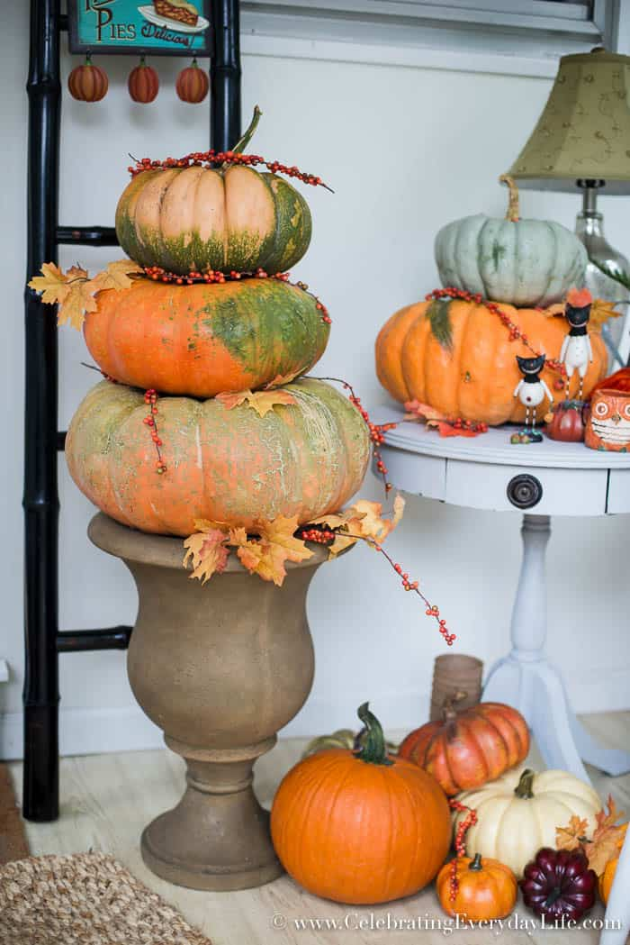 fall mud room decor, Fall Decorating Ideas, Entryway Decorating, Fall Porch Decor, Fall Porch Inspiration, Fall Porch Ideas, Pumpkin Topiary, Happy Harvest Decor, Pumpkin Decor, Fabric Pumpkins, Fall Leaf Decor, Orange and Turquoise Decor, Celebrating Everyday Life with Jennifer Carroll