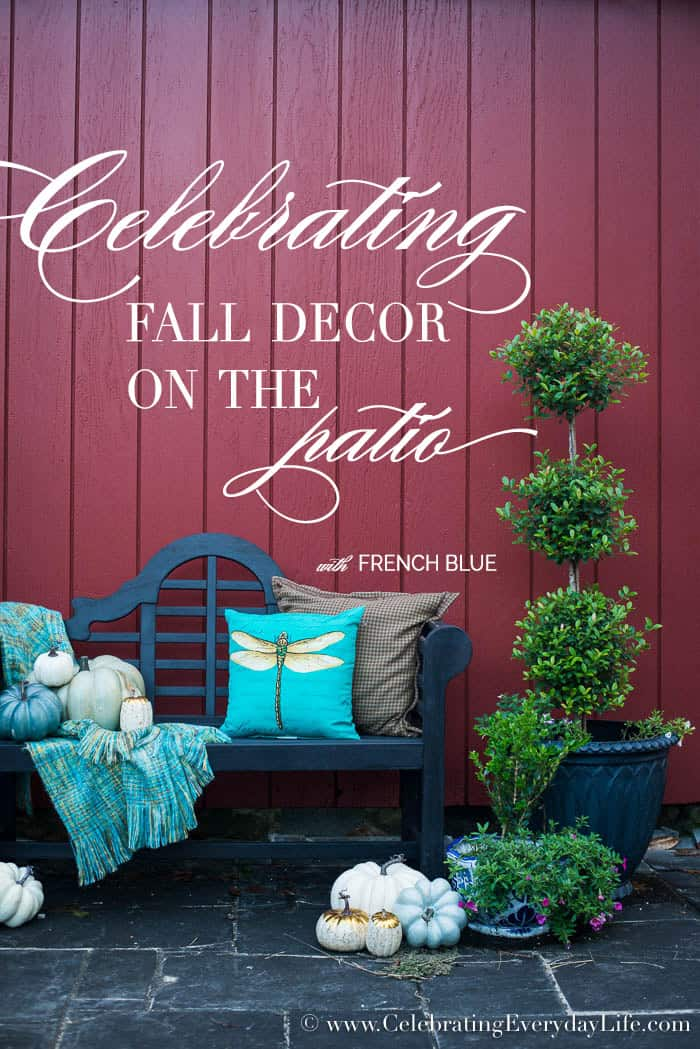 blue fall decor on the patio, Celebrating Fall Decor on the Patio, French Blue Fall Decor, Farmhouse Fall Patio Decor, Fall Patio Decor, Blue Pumpkin Decor, Blue & White Fall Decor, Celebrating Everyday Life with Jennifer Carroll