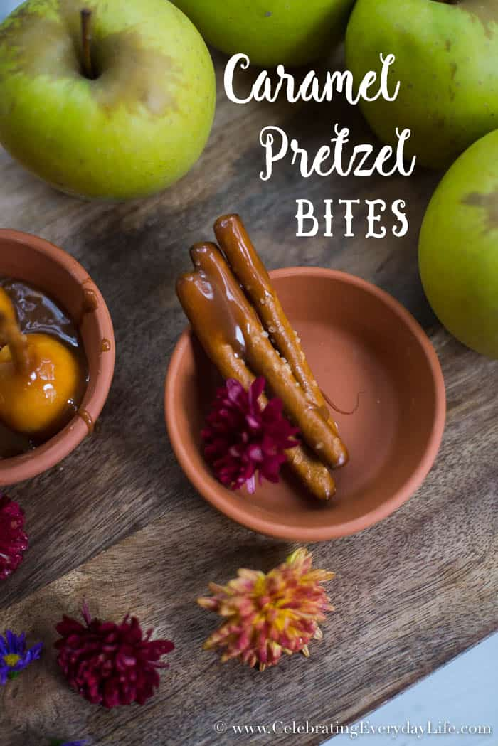 Caramel pretzels, caramel apple fondue bites, mini caramel apples, fall apple desserts, apple dessert recipe, Celebrating Everyday Life with Jennifer Carroll