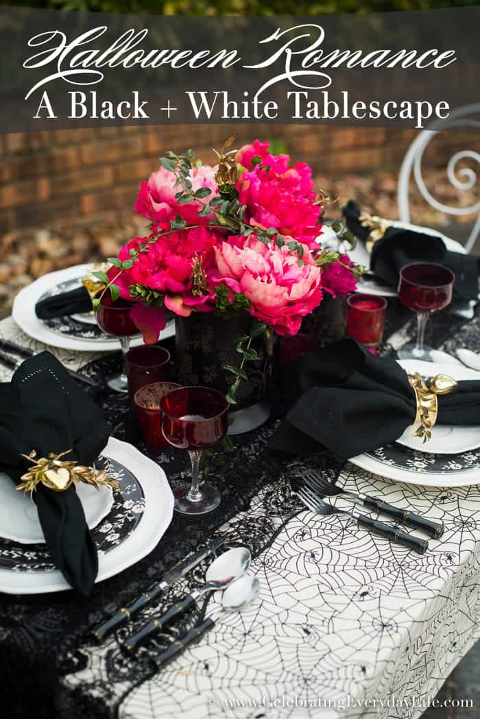 A Black and White Halloween Romance Table, Black and White Spiderweb Table, Romantic Spiderweb Table, Celebrating Everyday Life with Jennifer Carroll