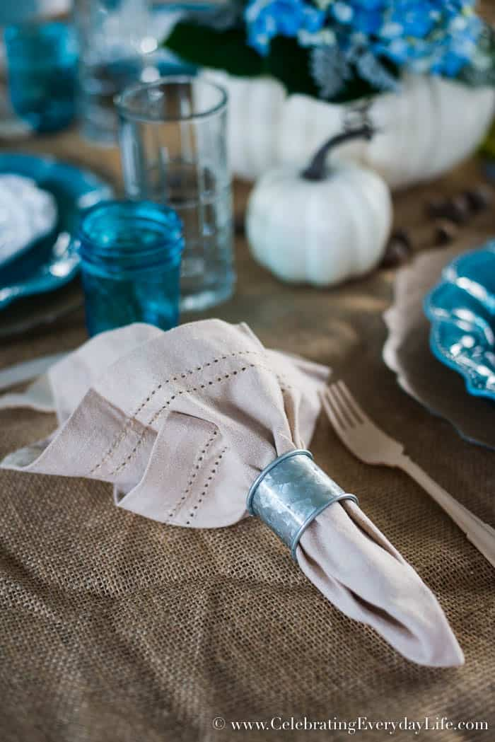 bue and white pumpkin tablescape, pumpkin fall tablescape, burlap tablecloth, pumpkin flower centerpiece, white pumpkin centerpiece, Fall entertaining, Celebrating Everyday Life with Jennifer Carroll