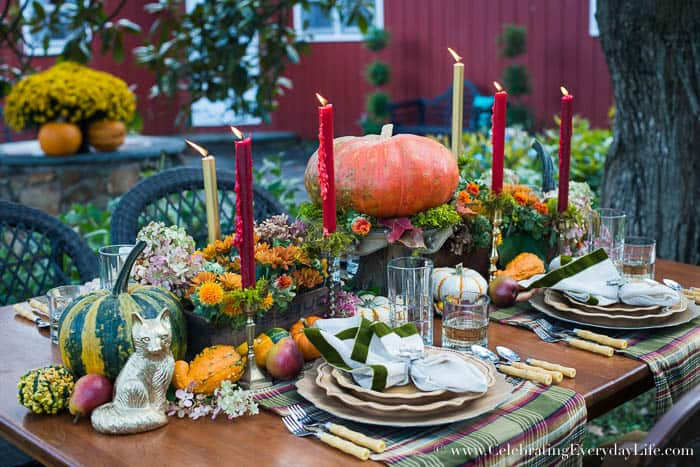 Fall orange flower centerpiece, wooden box centerpiece, moss candlesticks, A Fall Tablescape, Fall Entertaining, Welcome Autumn, autumn splendor, Harvest table, Thanksgiving table decor, thanksgiving table ideas, Lush fall table ideas, outdoor fall entertaining, Celebrating Everyday Life with Jennifer Carroll