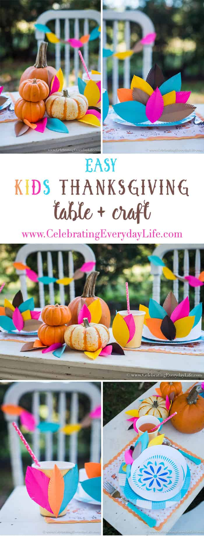 easy kids thanksgiving table, kids thanksgiving table, kids thanksgiving crafts, kids feather headress, kids paper crafts, kids paper feathers, thanksgiving paper decorations, paper feather garland, paper feather decoration, Celebrating Everyday Life with Jennifer Carroll