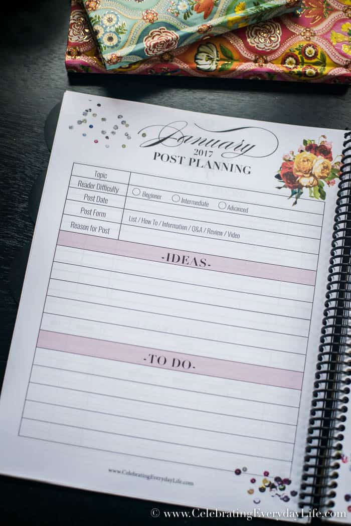Free 2017 printable blog planner, Blog Planner, Blogging for Business, Celebrating Everyday Life with Jennifer Carroll